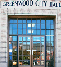 Greenwood City Hall front doors